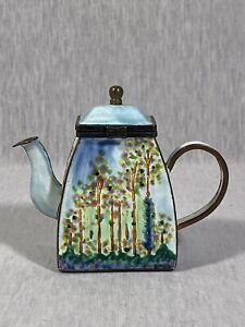 "Kelvin Chen Miniature Enamel Teapots Claude Monet ""Poplars"""