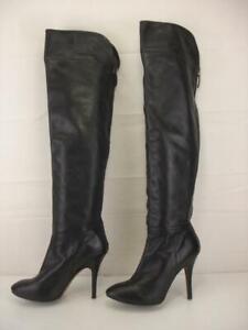 Women's 8 39 Zara Over The Knee High Heels Boots Black Leather OTK Tall Side Zip
