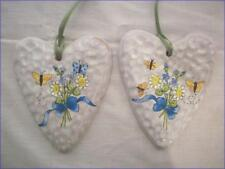 """2 Beautiful """"Cookie Cutter"""" Clay Heart Ornaments"""