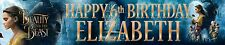 """2 x 40"""" BEAUTY & THE BEAST MOVIE PERSONALISED BIRTHDAY BANNERS"""