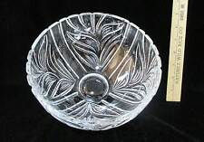 "Crystal Glass Bowl Round Serving Fruit Centerpiece 8 1/2"" Round Leaf Swirl Ribs"