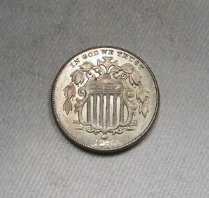 1876 ERROR Shield Nickel Struck Thru Grease VCH AU AK497