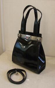Divine Russell & Bromley Black Patent Leather Designer Vintage Style Bag Handbag