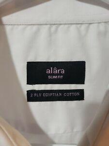Alara 2 Ply Egyptian Cotton Dress Shirt White 17 32-33 New with Tags