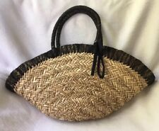 Straw Beach Bag Tote Basket Handbag Fabric Lined With Fastener And Black Trim