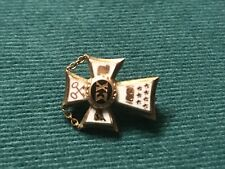 Sigma Chi Cross Badge Fraternity Pledge Pin 10K Yellow Gold Enamel Greek 1930s