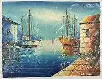 """Original Oil Painting on Rolled Canvas Harbored Boats 15"""" x 19"""" Unsigned"""