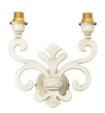 Applique Lampada da parete in ottone GIGLIO FIORENTINO 2 luci SHABBY BIANCO