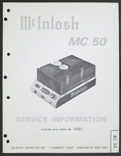 McIntosh mc-50 Original Power Amplifier service-manual/Diagram/Parts list o175