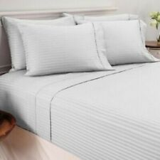 Attached Waterbed Sheet Set - Soft Egyptian Cotton 1000 TC Light Grey Stripe