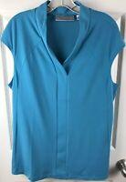 Simonton Says Womens Cap Sleeve Tunic Top Sz Large Turquoise V-neck Stretch Work
