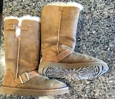Rare Style Ugg Women's Tan Authentic Sheepskin Tall Boots With Straps Size 8
