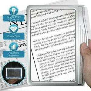 MagniPros 3X Large Ultra Bright LED Page Magnifier with 12 Anti-Glare Dimmable L