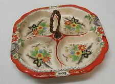 Platter Tray with Metal Handle Flowers Orange Trim Designs Four Section Vintage