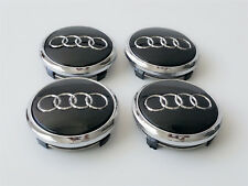 4x Audi 77mm Black Chrome Wheel Center Emblems Caps A5 A6 A7 A8 Q5 4L060117 A