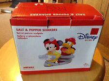 Nib Disney Mickey & Pluto Fireman Salt & Pepper Set. Adorable!