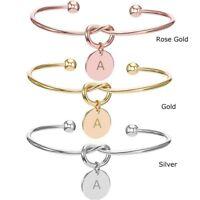 Personalized Initial Knot Bracelet Bridesmaid Opening Punk Cuff Bangle Jewelry
