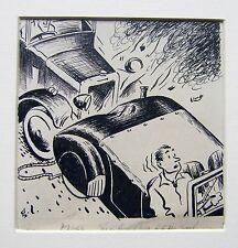 Illustrateurs motoring motor magazine l'échec de george lane encre 1940s