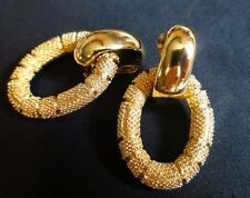 Christian Dior Earrings Designer door knocker Clip On Vintage hoop textured