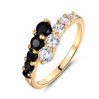 Fashion Women Engagement Rings Black White Crystal Zirconia Wedding Ring Jewelry