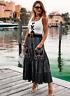 Zara Black Embroidered Midi Skirt Size SMALL BNWT