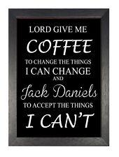 Café Jack Daniels Accept Things Drôle Citation Noir et Blanc Barre Pub Affiche