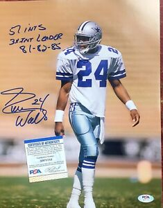 Everson Walls 11x14 Signed Auto dramatic Photo with inscriptions Cowboys PSA