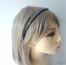 Gorgeous 10mm wide black & 2 row crystal - diamante  headband - aliceband