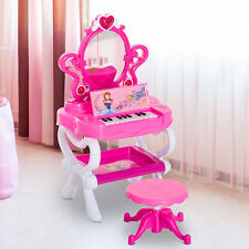 Kids Pretend Princess Girls Vanity Dressing Table Beauty Play Set w/ Piano