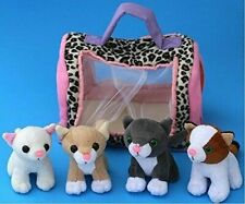 Meowing Kitties - Set Of 4 kittens / cats With Carrier