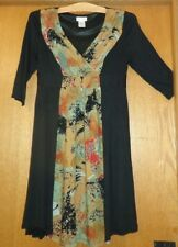 Woman's sz M - Black DRESS - Monroe & Main - 3/4 sleeve - contrast front - NICE