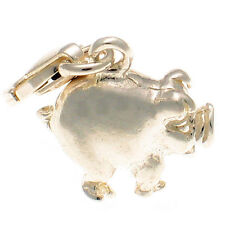 Happy Fat Pig Farm Charm Sterling 925 Silver With Lobster Clip by Welded Bliss