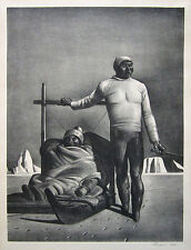"""ROCKWELL KENT Signed 1933 Original Lithograph """"Sledging"""" (Greenland Travelers)"""