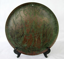 "Mid Century Etched Bronze Plate/ Charger ""Adam & Eve"" Signed Remo"