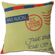 Par AVION France French Letter Travel Olive Green Cushion Covers