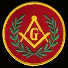 Masonic G-Red round patch 3.5 INCH BIKER PATCH