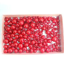 200 assortiti Taglie 4mm 6mm 8mm 10mm Vetro Perla Perle Corallo rosso