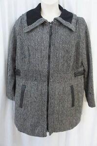 Dollhouse Outerwear Coat Juniors Sz 2X Black Herringbone Wool Blend Overcoat