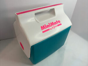 Vintage 1990's Mini Mate Cooler By Igloo Made In USA Retro Hot Pink Neon Teal