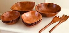Vintage 13 Bowls & Servers WOVEN WOOD 1970s Salad large and small 🎉 set