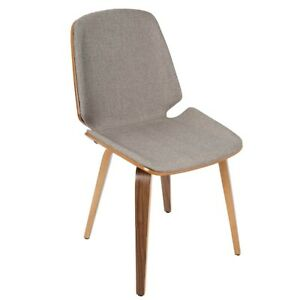 LumiSource Serena Chair (Set of 2), Walnut Wood , Light Grey - CH-SERWL-LGY2
