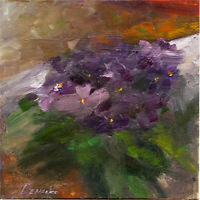 Purple Violets Still Life home decor oil painting 8 x 8in 20 x 20cm