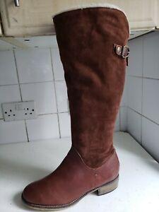 NEXT UK 6.5 EU 40 WOMENS DARK BROWN SUEDE LEATHER KNEE HIGH FLAT WINTER BOOTS