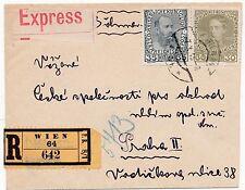 * 1915 AUSTRIA  VIENNA  REGISTERED EXPRESS COVER TO PRAGUE - WIEN 65 HELLER REGd