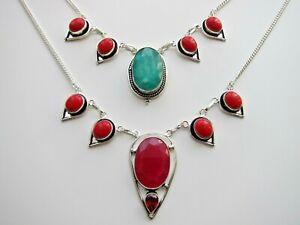 Ruby, Emerald, Jasper, Sapphire, Amethyst or Other Gem Necklace.