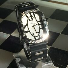 Swiss B Bernard diamond bezel black resin Roman numbers unisex watch