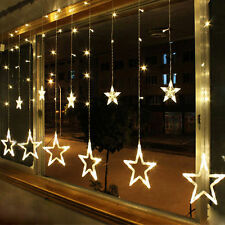 Warm White 12 Twinkling Stars Xmas Fairy String Lights Window Display 48 LED
