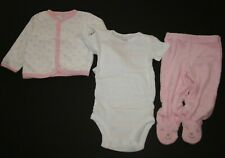 New Carter's 3 Piece Set Girls 6m Terry Cardigan Bodysuit Top & Footed Pants