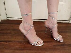 Jimmy Choo Metallic Silver Leather Gladiator Sandals Sz 38 1/2, 7.5
