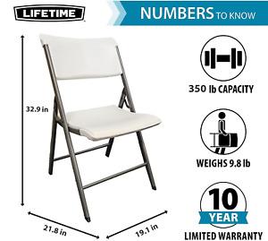 LIFETIME Commercial Grade Folding Chair, 4 Pack, Light Grey Granite